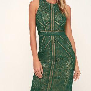 Bardot green lace sheath dress NWT